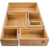 Organiseur de 6 tiroirs 100 % bambou naturel, système de rangement parfait pour chaque tiroir, idéal comme coiffeuse ou…