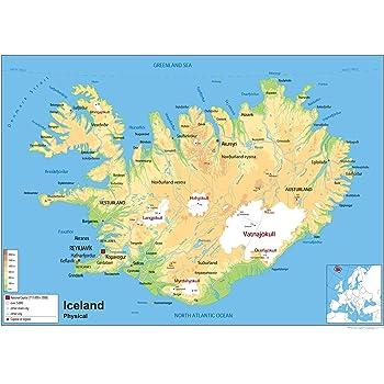 island karte Physische Karte von Island, laminiertes Papier [GA] A0 Size 84.1 x