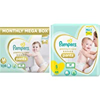 Pampers Premium Care Pants Diapers Monthly Box Pack, Medium, 108 Count & Pampers Premium Care Pants Diapers, Small, 46…
