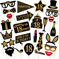 Party Decoration 18th Birthday Photo Booth Party Props - 26 Pieces - Funny 18th Birthday Party Supplies, Decorations and…