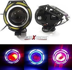 AllExtreme 2 Pieces U11 CREE-LED - Head Hunters LED Projector 3000LMW Headlight Fog Lamp (Dual Ring White & Blue) Fog Light