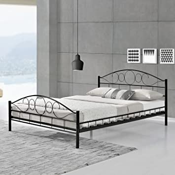 metallbett schwarz 140 200. Black Bedroom Furniture Sets. Home Design Ideas