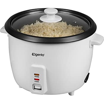 Elgento E19013 Rice Cooker, 0.6 Litre Cooked Rice Capacity, White, 1.5 Litre