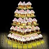 ANJI Depot våning cupcake ställ för födelsedag4 i 1, 5 djur cupcake med LED, perfekt för donut bröllop, muffins födelsedag (5