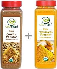 Geo-Fresh Combo of USDA Certified 440g Cumin and 500g Tumeric Powder