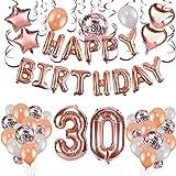 Howaf Oro Rosa 30 Anni Compleanno Decorazioni per Donna, 59 Pezzi Palloncini Oro Rosa Festone di Palloncini Compleanno Pallon