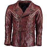 Gallanto 3/4 Vintage Red Distressed Eddie Mens Motorcycle Biker Long Leather Jacket Muddled Wine - Leather Jackets Mens