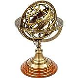 Esfera de latón armilar antiguo del zodiaco vintage con forma de globo de madera   Decoración de barco antiguo de pirata   Na