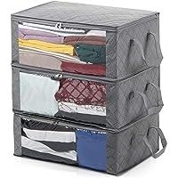 Magicfly 3PCS Sacs de Rangement Pliables Boîtes Our Vêtements Couvertures avec Grande Fenêtre Transparente, Poignées de…