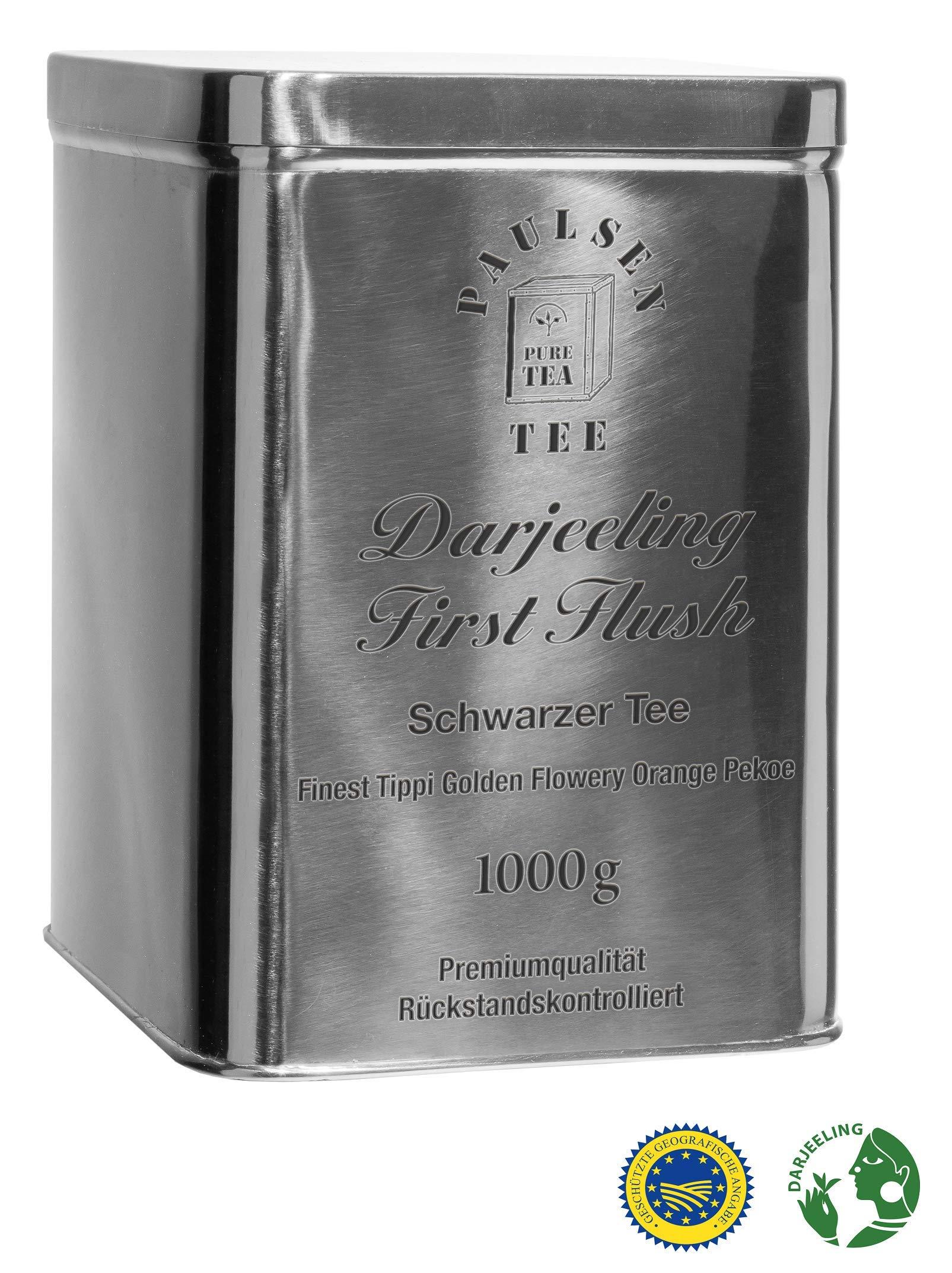 Darjeeling-First-Flush-Ernte-2018-Schwarzer-Tee-in-einer-sehr-hochwertigen-Edelstahldose-Silber-glnzend-1000g