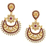 Bollywood Inspired Stylish Party Wear Gold Plated Polki Meenakari Traditional Earrings For Girls & Women by Royal Bling