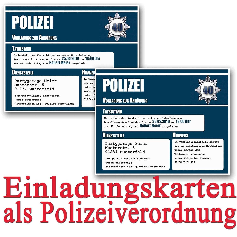 Einladungskarten Zum Geburtstag Als Polizeivorladung (35 Stück)  Geburtstagseinladung Polizei Vorladung Einladung: Amazon.de: Bürobedarf U0026  Schreibwaren