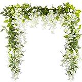 VINFUTUR 5pcs*2m Artificielle Fleurs Wisteria Vigne, Faux Glycine Fleurs Guirlande Suspendue pour Arche de Cérémonie de Maria