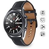 Samsung Galaxy Watch 3 Smartwatch Bluetooth, behuizing 45 mm, staal, lederen band, satuurmeter, valherkenning, sportbewaking,