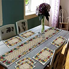 Galaxy Home Decor Dining Table Runner with Six Mats Jacquard Fabric Set of six mats with one Runner - Set of 7