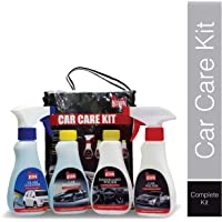 Shine Guard Car Care Kit (Dashboard Polish/Shiner, Windshield/Glass Cleaner, Car Shampoo, Car Polish, Pack of 4 Items)
