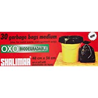 Shalimar Premium OXO - Biodegradable Garbage Bags (Medium) Size 48 cm x 56 cm (30 Bags) (Black Colour)
