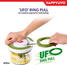 HappyLivo FRESA Vegetable Pull Chopper with UFO Ring pull | Super Large 870ml bowl capacity | TriSword Japanese Blades | Slice mince chop or blend Vegetable Fruits Nuts Onions Salads | BPA free food grade material | Whisk add-on attachment | 6 months warranty