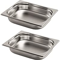 Gastro-Bedarf-Gutheil 2 x gastronormb Gastronorm GN 1/2 Profondeur 65 mm empilable acier inoxydable Convient pour plat-réchaud