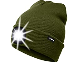 ATNKE LED Lighted Beanie Cap, USB Rechargeable Running Hat Ultra Bright 4 LED Waterproof Light Lamp and Flashing Alarm Headla