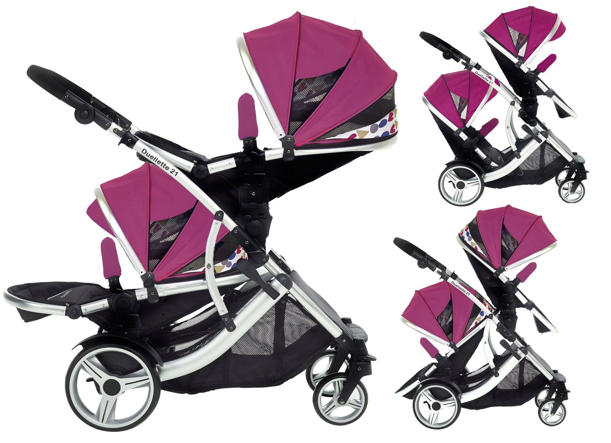 Kids Kargo Double Twin Tandem Pushchair. Duellette BS Suitable for Twins from 6 months. Stroller by Kids Kargo (Dooglebug raspberry) Kids Kargo Demo video please see link http://youtu.be/Ngj0yD3TMSM Various seat positions. Both seats can face mum (ideal for twins) Suitability Twins (Newborn Twins if used with car seats). Accommodates 1 or 2 car seats 1