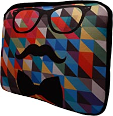 Nostaljia Synthetic and Polyester Blue and Red Laptop Sleeve