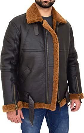 Mens Original Flying Sheepskin Jacket RAF Pilot Aviator Style Tyler Brown Ginger