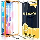 [4 pezzi]UniqueMe Pellicola Protettiva Compatibile con iPhone 12 6,1/iPhone 12 Pro [Bubble-Free], [Facileinstallare] Vetro T