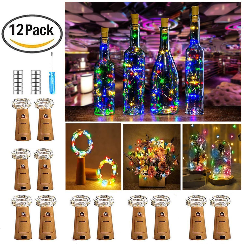 【12 Stück】Nasharia 20 LEDs 2M Flaschen-Licht Warmweiß