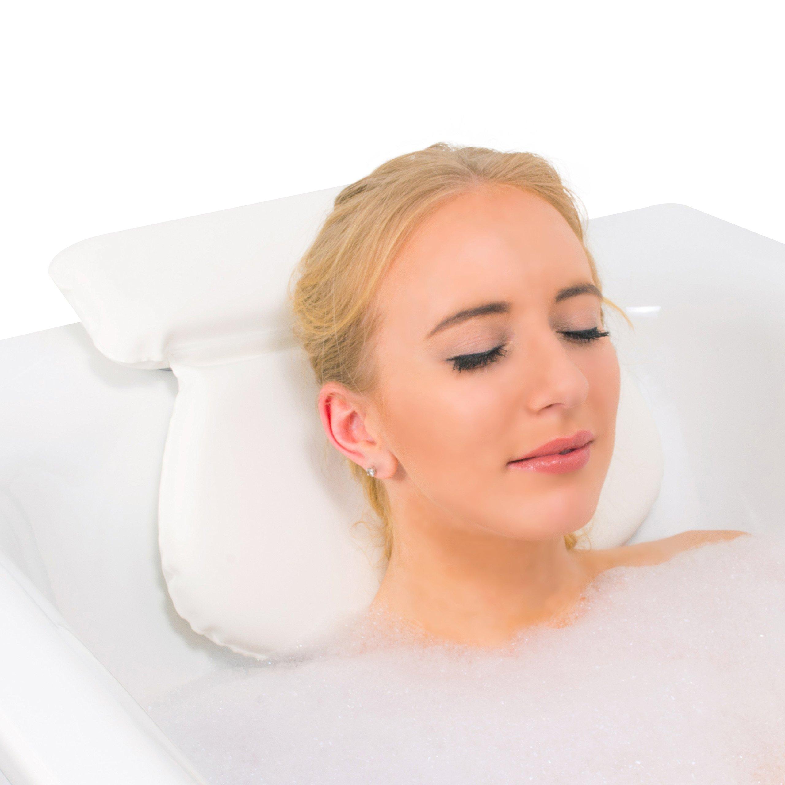 Relux Premium Waterproof Bath Pillow Cushion with Non-Slip Suction Cups Ergonomic Home Spa Headrest