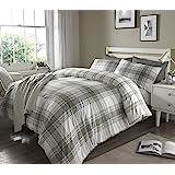 Sleepdown Check Grey Striped Reversible Soft Duvet Cover Quilt Bedding Set With Pillowcase - Single (135cm x 200cm)