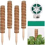 Zocipro 4 stuks 15,7 inch kokosstok, plantenhouder, tuinwerk, mosstaaf, plantensteun, natuurlijke kokosvezel, geschikt voor k