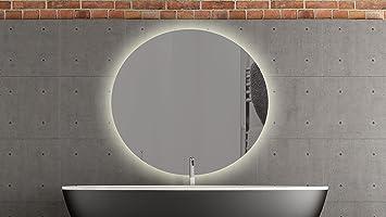 Spiegel mit beleuchtung rund  Bern runder Spiegel mit LED Beleuchtung Badspiegel - 60cm ...