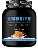 GYM-NUTRITION® — WHEY ISOLAT-PROTEIN + Verdauungsenzym – Beliebt als Protein-Shake beim Muskel-Aufbau – sehr gut löslich – Taste MILK & HONEY – 1kg – Made in Germany
