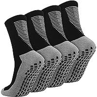 Cooraby 2 Pairs Anti Slip Football Socks Non Slip Rubber Grip Cushion Athletic Socks for Men & Women