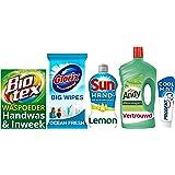 Andy, Biotex, Glorix, Prodent en Sun Campingpakket - Waspoeder, Hygiënische Doekjes, Handafwasmiddel, Allesreiniger, Tandpast