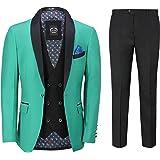 Mens 3 Piece Tuxedo Suit Formal Dinner Jacket Wedding Tailored Fit Green Blazer Waistcoat Trouser