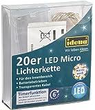 Idena 31114 LED Micro Lichterkette mit 20 LED, warm weiß, mit 6 Stunden Timer Funktion, Batterie betrieben, für Partys, Weihnachten, Deko, Hochzeit, als Stimmungslicht, ca. 2,2 m [Energieklasse A++]