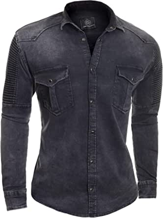 D&R Fashion Men Denim Shirt Washed Out Ribbed Stretchy Top