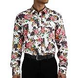HISDERN Camisa Hombre Camisas Flores Hawaianas Manga Larga Estampado Paisley Camisa Casual Formal para Playa Boda Costa Fiest