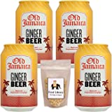 Old Jamaica Ginger Beer Soft Drink Can (Imported), 330ml - Pack of 4 + Food Library Roasted Salted Peanuts, 200g