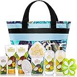 Coffret Cadeau de Bain pour Femmes avec Noix de Coco , Cadeau d'Anniversaire 10Pcs avec Paniers de Spa Compris Bain Moussant,