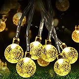 Fulighture Guirlande lumineuse solaire, 50 LED de 32 m, 8 modes, étanche, boule de cristal pour festival, jardin, terrasse, j
