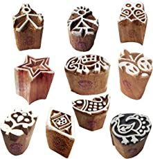 Paper Printing Stamps Indian Small Animal Shape Wooden Blocks (Set of 10)