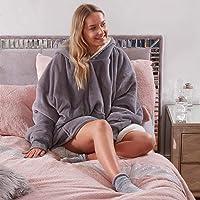 Sienna Couverture à Capuche Ultra Douce en Polaire Sherpa Chaude et Confortable surdimensionnée pour Femme, Filles…