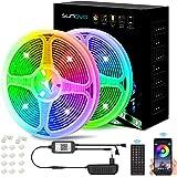 SUNOVO 10M LED Strip Light, Kleur veranderende LED Strip Light met IR-afstandsbediening en Bluetooth-bediening, 2 flexibele r