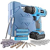 Hi-Spec 50-teiliges Akkubohrmaschinenset mit 12V Bohrer in Blau und den gebräuchlisten Holz, Metal und…