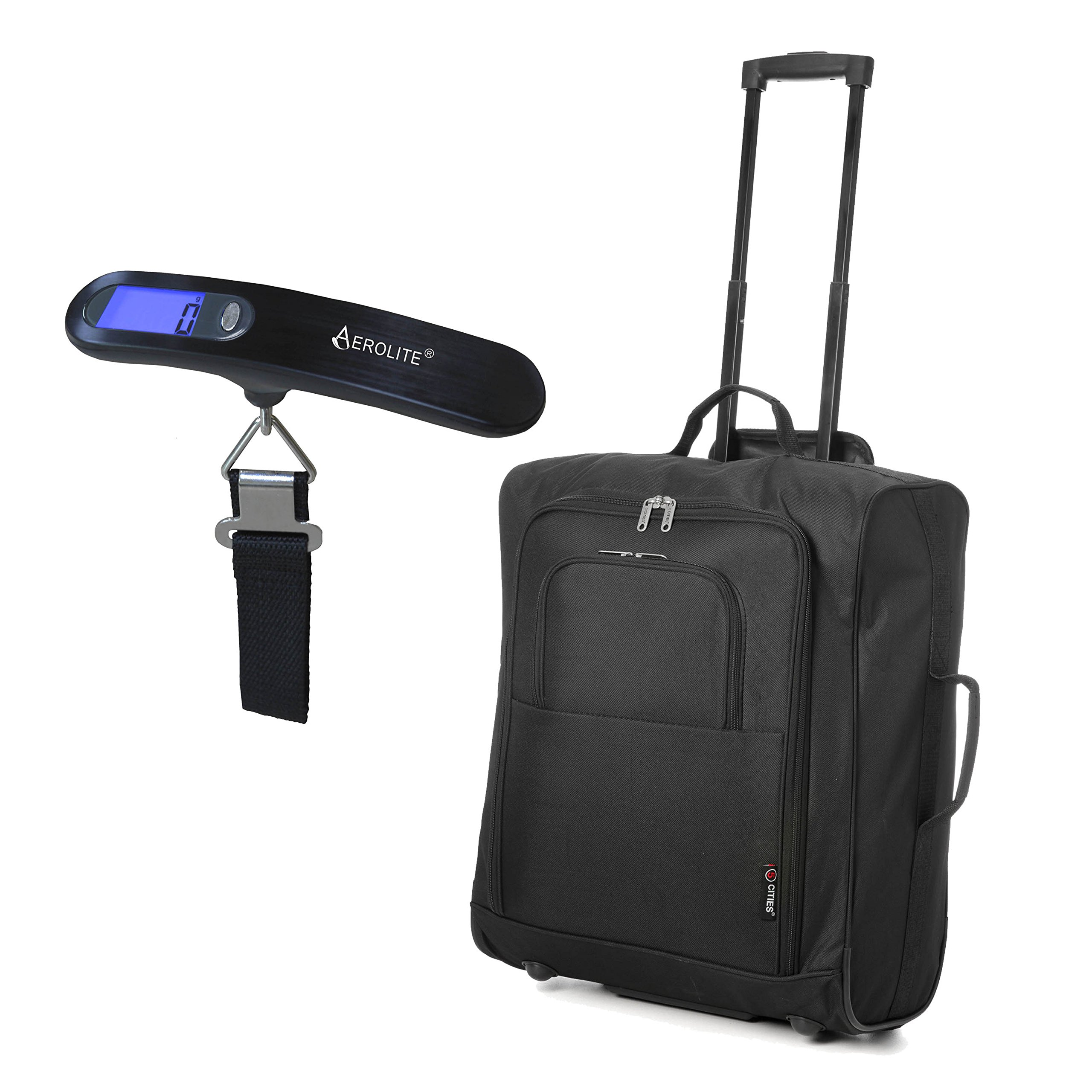 81eE6XPDKcL - Easyjet e British Airways 56x45x25cm bagaglio a Mano massima approvato Trolley, 60L Capacità,(2X Negro)