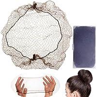 LEEQ 30 Stück Unsichtbare Haarnetze Elastische Kante Mesh für Perücke und Haarfixierung Frauen Duttmacher Kaffee