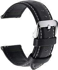 Fullmosa 12 Farben Uhrenarmband, Axus Serie Lederarmband Ersatz-Watch Armband mit Edelstahl Metall Schließe für Herren Damen 18mm 20mm 22mm 24mm